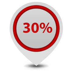 Thirty percent pointer icon on white background