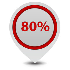 Eighty percent pointer icon on white background
