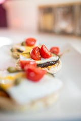 Italian appetizer of corn cracker with egg and grilled aubergine