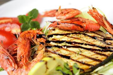 King prawns with swordfish grilled