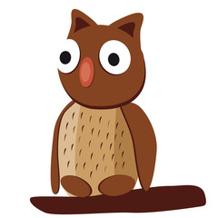 Cute brown owl with big eyes on a white background