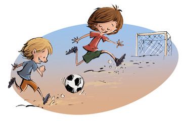 niños jugando a fútbol