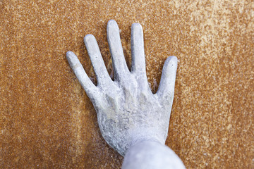 Hand rusty metal