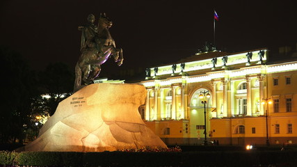 Monument to Peter I on the Senate square in St. Petersburg