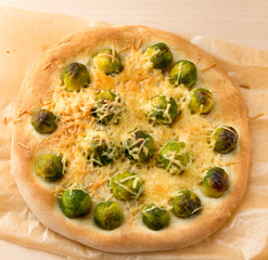 Open vegetable Brussels sprout pie