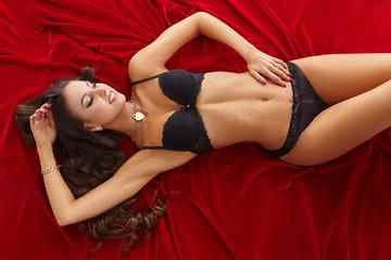 Seductive slim model advertises lingerie