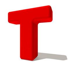 t ti lettera 3d rossa, isolata su fondo bianco