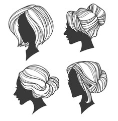 vector collection perfect handdrawn hair