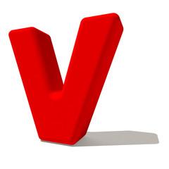 v vi lettera 3d rossa, isolata su fondo bianco
