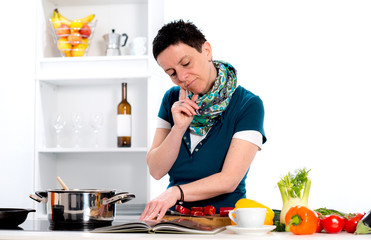 woman looking for cooking recipe