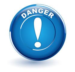 danger sur bouton bleu