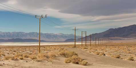 Power cable in desert