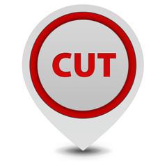 Cut pointer icon on white background