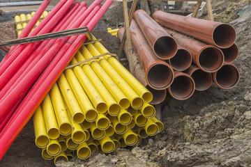 Stacks of large diameter pvc pipes