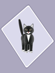 Isolated image of a black cat