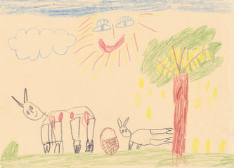 Child picture of 2 animals on the meadow with large smiling sun