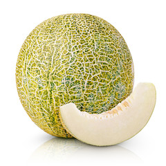 Ripe melon with slice isolated on white background