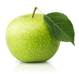Ripe green apple with leaf isolated on a white