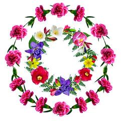 circle frame flowers