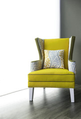 Modern yellow fabric armchair