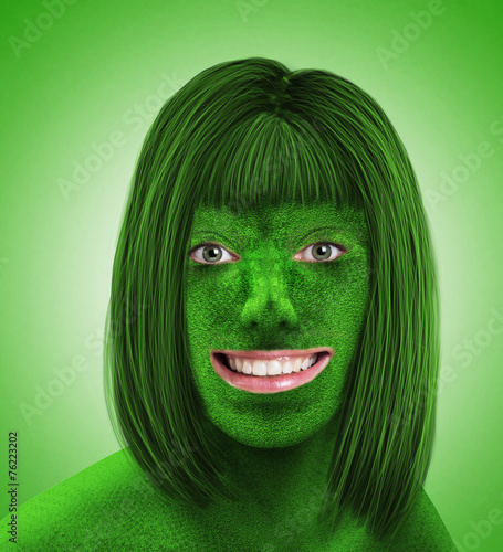 Green female head on green - 76223202