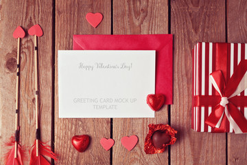 Valentine's greeting card template with heart shape chocolate