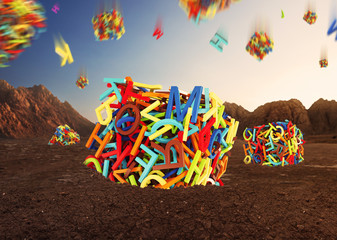 Random multicolored letters forming  cubes