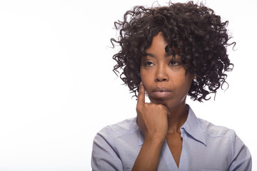 Young African American black woman thinking face