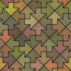 Multicolor Mosaic Paving Slabs as Arrow.
