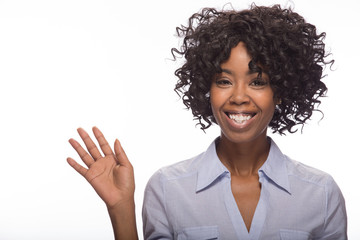Young African American black woman waving hadn