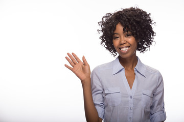 Young African American black woman waving hand