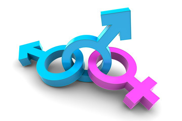 Two Male with Female gender symbol