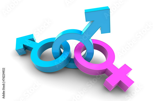 canvas print picture Two Male with Female gender symbol