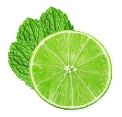 lime slice with mint leaves isolated on the white background