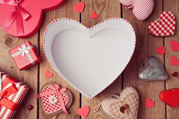 Valentine's day background with empty heart shape box.