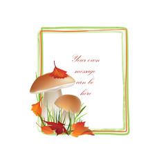 Autumn frame. Mushrooms background. Floral fall border