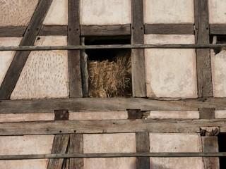 Fachwerk einer alten Scheune in Schönstadt bei Cölbe in Hessen
