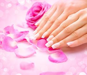 Manicure, Hands spa. Female hands, soft skin, beautiful nails