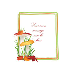 Autumn frame. Mushrooms background. Floral fall border