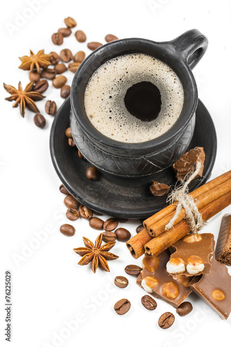 canvas print picture coffee and cookies on white background