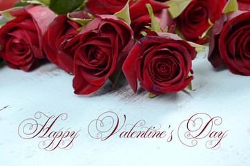Happy Valentines Day bouquet of roses