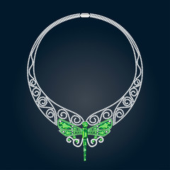 Necklace With Green and White Precious Stones and Shape of Drago