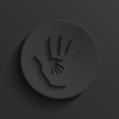 Vector modern hands hold black circle icon.