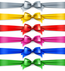 Set of multicolored shiny ribbons, isolated on white