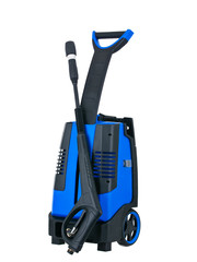 Blue pressure washer front view isolated on white background