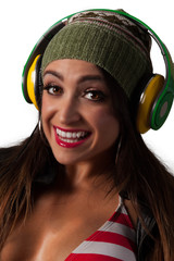 Young Pretty Latino Woman Listening to DJ Style headphones