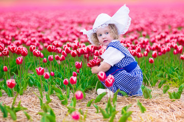 Dutch girl in tulip field in Holland