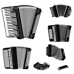 Music instruments set. Accordion family collection