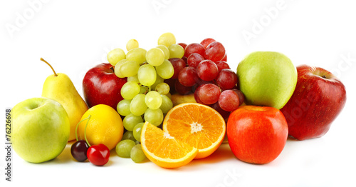 Staande foto Vruchten Ripe fruits isolated on white background