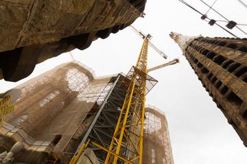 Construction of Sagrada Familia in Barcelona